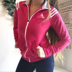 Adidas Full Zip Pink & White Track Jacket